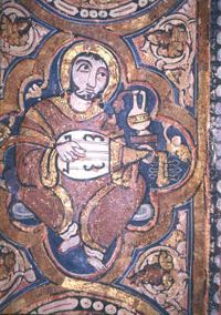 Muslim musician in the Cappella Palatina, Islamic side, Palermo, Italy, 1140 AD.