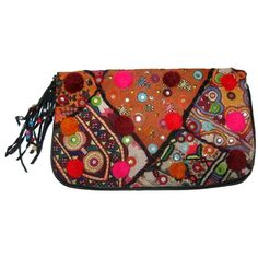 Pure leather banjara styled clutch bag handembroidered