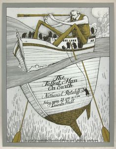 Gig poster for The Tallest Man on Earth featuring Nathaniel Rateliff.  Heavenly combination.