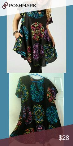 Colorful tunic-mini dress Very fun top, long can be worn with leggings. NEW WITHOUT TAGS NEVER WORN from smoke free home. 100% cotton. Very light weight fabric. Aller Simplement Tops Tunics