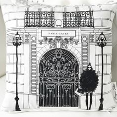 "272d015aa Megan Hess on Instagram: ""One of my new cushion designs 'The Paris Gates' 6  new designs, all handmade in beautiful linen. Available from: meganhess.com"""
