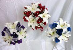 red blue purple wedding | ... Wedding Bouquet, Lillies & Roses Purple, Royal Blue, Deep Red | eBay