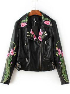 Jacke mit Schrägen Reißverschluss Blumen Stickereien PU-schwarz