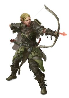 Female Elf Ranger Archer - Pathfinder PFRPG DND D&D 3.5 5th ed d20 fantasy