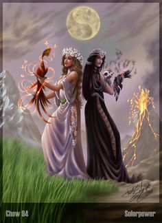 Demeter and Persephone Beautiful Fantasy Art, Beautiful Fairies, Angel Demon, Spiritual Images, Spiritual Life, Yin Yang Tattoos, Creative Pictures, Magical Pictures, Fantasy Pictures