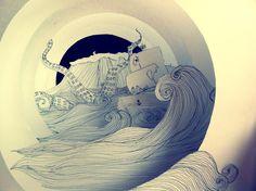 Tunnel book by Harold Lloyd Grunge Style. Kirigami, Book Libros, Tunnel Book, Stippling Art, Harold Lloyd, Accordion Book, Matchbox Art, Pop Up, Handmade Books