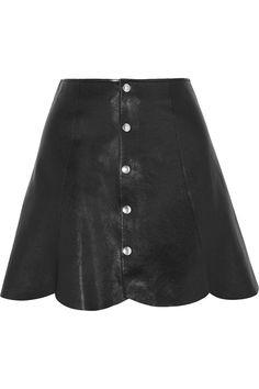 Saint Laurent|Scalloped leather mini skirt|NET-A-PORTER.COM