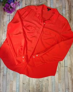 Ann Taylor Silk Long Sleeve Button Down Camp Shirt Blouse Top Orange Size 12  | Clothing, Shoes & Accessories, Women's Clothing, Tops & Blouses | eBay!