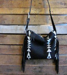 Leather & Wool Black Arrow Fringed Bag