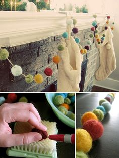 white knit stockings and felted pom pom garland makes a cute crafty holiday fireplace decoration. Noel Christmas, All Things Christmas, Winter Christmas, Handmade Christmas, Xmas, Whimsical Christmas, Modern Christmas, Handmade Felt, Simple Christmas