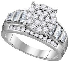 10kt White Gold Womens Round Natural Diamond Cinderella Cluster Bridal Wedding Engagement Ring 1.00 Cttw
