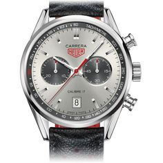 Tag Heuer CARRERA Calibre 17Automatic Chronograph Jack Heuer41 mm Silver, sunray effect Leather bracelet