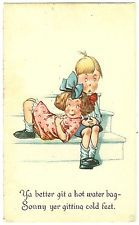 c1915 Charles Twelvetrees Adorable Postcard Hot Water Bag Cold Feet