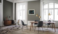 Gubi // Bestlite Lamp, Gubi Dining Table, Beetle Chair and 62-series