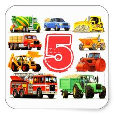 Big Trucks 5th Birthday Square Stickers from TruckStore on Zazzle #truckstore #trucks #birthday #5th #kids #party Available here ► www.zazzle.com/big_trucks_5th_birthday_square_stickers-217879945514407129?rf=238175107415881712&tc=pin
