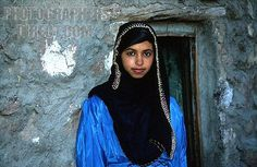 young bedouin woman in village in high mountains in sinai in egypt