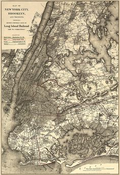 Map of New York City, Brooklyn, and vicinity, shewing [sic] suburban lines of Long Island Railroad and its connections. NY0128  Reproduction