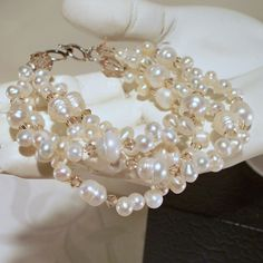Light Topaz Crystals and Freshwater Bracelet by tbyrddesigns on Etsy