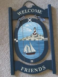Gorgeous welcome sign by Faith Rollins, for sale in our Ebay store.  Click photo for full details.....  Welcome Friends Hanging Nautical Sign Decor Lighthouse Sailboat by Faith Rollins #Unbranded #RusticPrimitiveNautical #FaithRollins #lighthouse #welcome #friends #shabby #blue #sign #plaque #woodensign #sailboat #nautical #faith #rollins