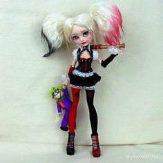 "Custom OOAK Ever After High Doll ""Harley Quinn"" by Skeriosities"