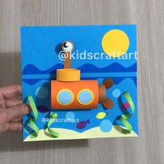 Paper summer sea ocean crafts for kids transport submarine Sea Crafts, Diy And Crafts, Arts And Crafts, Paper Crafts For Kids, Diy For Kids, Submarine Craft, Submarine Drawing, Transportation For Kids, Motifs Perler