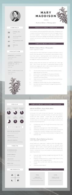 Professional CV Design for Word - Upgrade your #JobSearch and #Achieve your goals. CV Template for Word (Mac or PC) // Instant Download