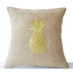 Burlap Pillow Covers With Pineapple Embroidered Gold Pillows Pineapple... (1,730 INR) via Polyvore featuring home, home decor, throw pillows, decorative pillows, home & living, home décor, silver, gold toss pillows, modern home decor and pineapple home accessories