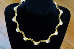 Vintage Necklace Clear Rhinestones signed J G Hook Gold Tone Wedding Jewelry Bridal Party Prom Opera Gift for Her Abstract Bold