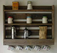 Rustic Reclaimed Wood Coffee & Tea Rack with 5 Mug Cup by KeoDecor