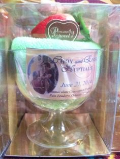 Towel Icecream in a glass souvenir for wedding