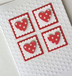 handmade Valentine card ... white with red adornments ... four square of inches with polka dot hearts on them ... clean and simply beautiful ...