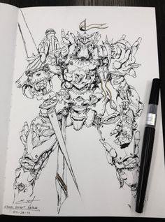 Steam Knight Arthur - Ink Sketch , Emerson Tung on ArtStation at https://www.artstation.com/artwork/steam-knight-arthur-ink-sketch