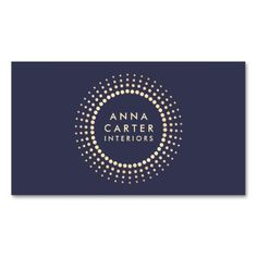 Classic Gold Circle Logo Muted Dark Navy Blue Business Cards. Great card for interior designers, event planners, beauty consultants, hair salons, fashion boutiques and more. Fully customizable and ready to order.