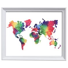 Rainbow World Map watercolour print by StudioandSketch on Etsy