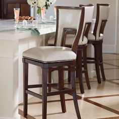 Harlow Bar Stool Love them but a little expensive! 599.99 Wood color would look fantastic with island color