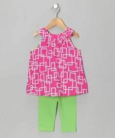 Pink & Lime Square Tunic & Leggings - Infant, Toddler & Girls by Mack & Co