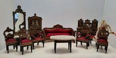 Antique Doll House Furniture Boule Walterhausen Biedermier Parlor Set 19th C   eBay