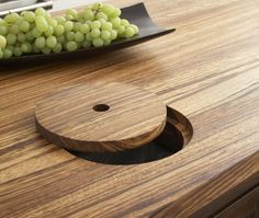 butcher block counter with trash cut-out