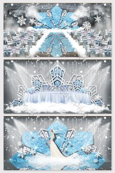 blue dreamy winter snowflake theme wedding effect picture Indian Wedding Receptions, Wedding Mandap, Wedding Table, Wedding Ideas, Wedding Stage Design, Wedding Stage Decorations, Table Decorations, Backdrop Design, Photo Booth Backdrop