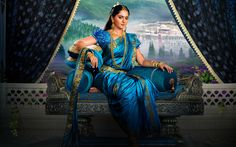 Download wallpapers Anushka Shetty, Bollywood, indian actress, brunette, saree, Devasena, Baahubali 2 The Conclusion