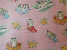 Vintage 1940's Wrapping Paper Kittens cats Red by LemonIceBoxPie, $5.50