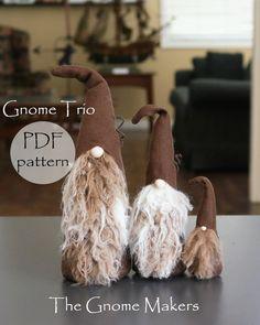 TRIO Gnome Pattern 3 Sizes Nisse Pattern Tomte PDF Gnome | Etsy