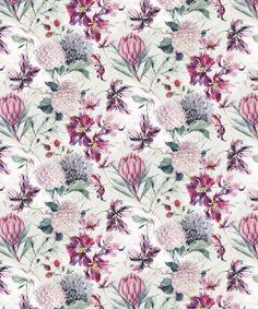 The selection of watercolor flowers below is by Moscow, Russian Federation based artist Natalia Tyulkina. She specialises in surface design and watercolor Textile Pattern Design, Pattern Art, Print Patterns, Watercolor Pattern, Watercolor Flowers, Textile Prints, Floral Prints, Protea Art, Watercolor Invitations