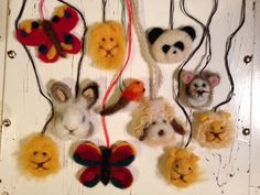 Needle felted animal necklaces by Dunja