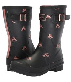 Joules Mid Molly Welly Wide Calf Women Rain Boots - Love th elook of these chic style wide calf rain boots for women. Pull-on styling with rear tab. Gusset construction with adjustable strap. Signature, center-back striping detail. Wide Calf Boots, Joules, Plus Size Fashion, Rubber Rain Boots, Calves, Kicks, Curvy, Toe, Construction