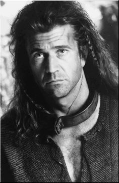 Braveheart, Mel Gibson, male actor, celeb, powerful face, intense eyes, portrait, great movie, photo b/w.