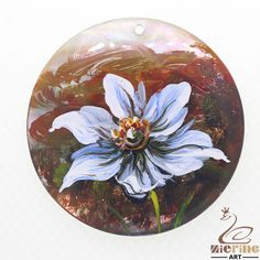 Creative Pendant Hand Painted Flower Natural Black Lip Shell ZL302385 #ZL #Pendant