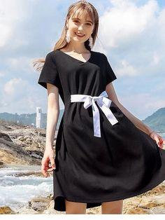 Hit Color Lacing V-Neck Short Sleeve A-Line Dress