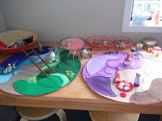 felt play-mats. Make these double-sided to use for travel?
