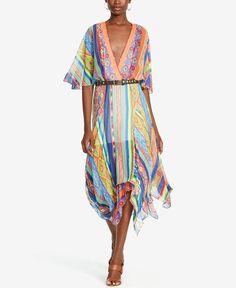 Polo Ralph Lauren Serape Silk Handkerchief Dress